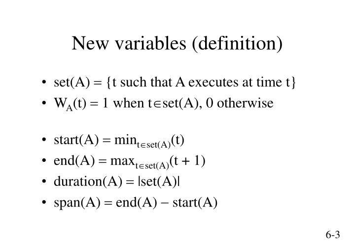 New variables definition