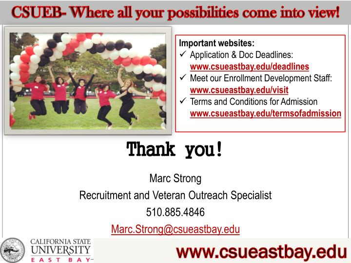 CSUEB- Where all your possibilities come into view!