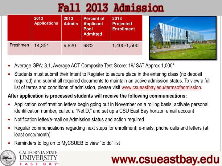 Fall 2013 Admission