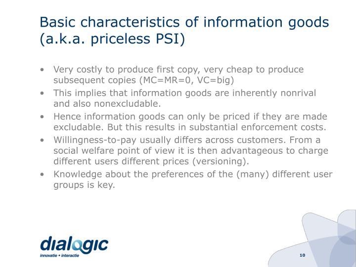 Basic characteristics of information goods