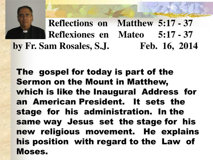 Reflections  on    Matthew  5:17 - 37
