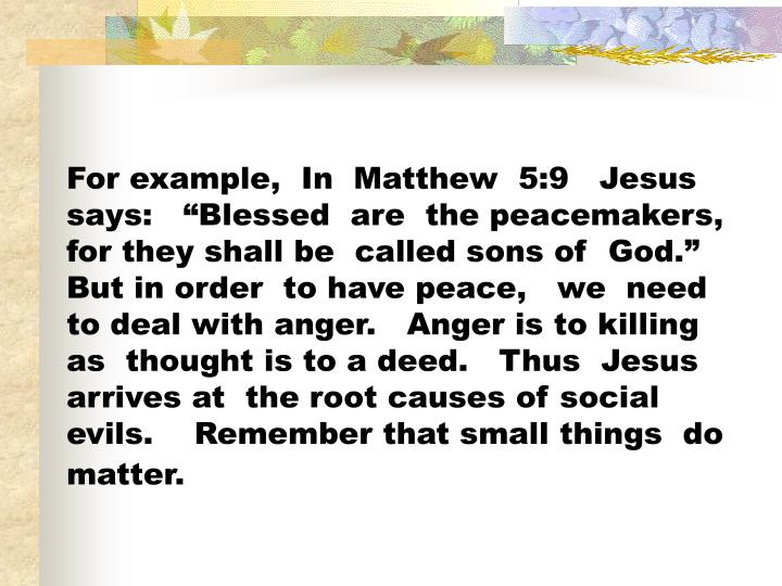 """For example,  In  Matthew  5:9   Jesus  says:   """"Blessed  are  the peacemakers,  for they shall be  called sons of  God.""""   But in order  to have peace,   we  need to deal with anger.   Anger is to killing as  thought is to a deed.   Thus  Jesus  arrives at  the root causes of social evils.    Remember that small things  do  matter."""