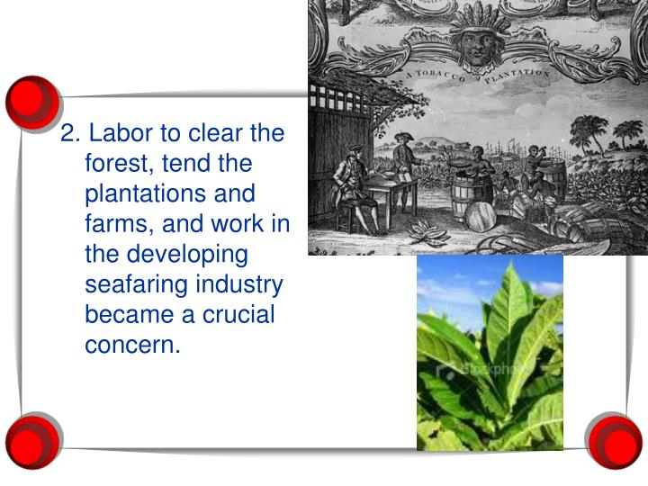 2. Labor to clear the forest, tend the plantations and farms, and work in the developing seafaring industry became a crucial concern.