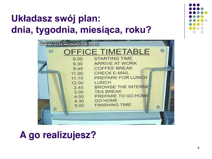 Układasz swój plan: