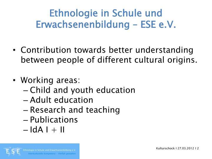 Ethnologie in schule und erwachsenenbildung ese e v