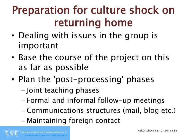 Preparation for culture shock on returning home