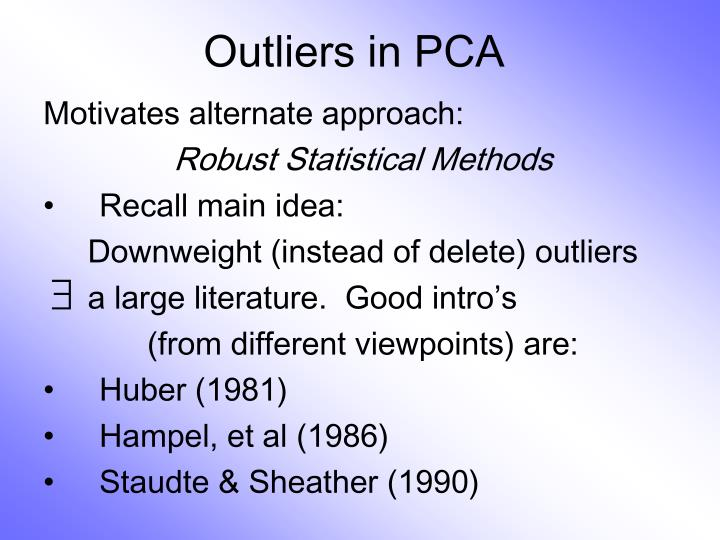 Outliers in PCA