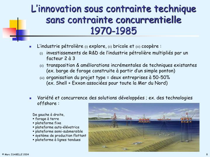 L'innovation sous contrainte technique   sans contrainte concurrentielle