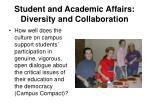 student and academic affairs diversity and collaboration