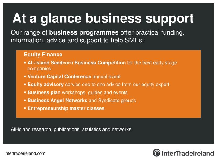 At a glance business support