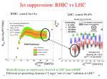 j et suppression rhic vs lhc