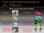 if you could cut petrol expenses by 25 usd50 000
