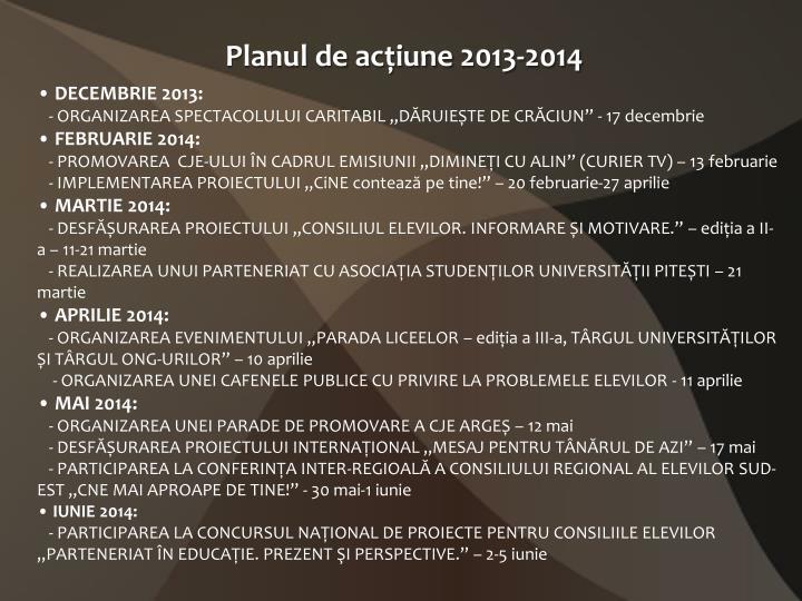 Planul de ac iune 2013 2014