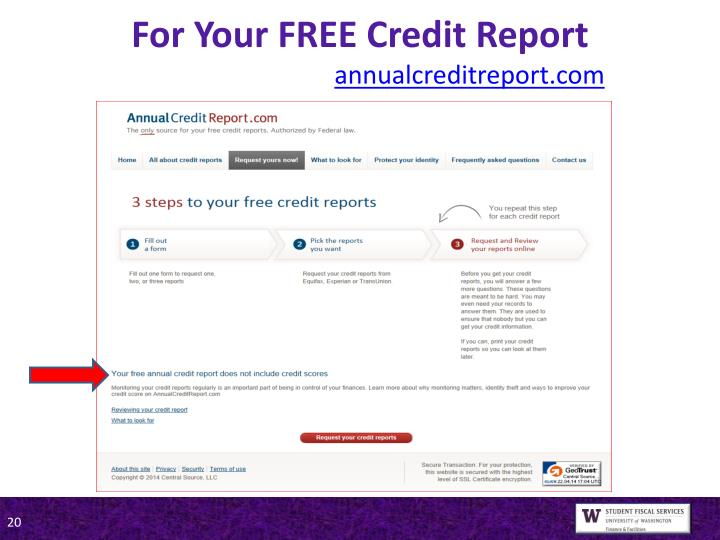 For Your FREE Credit Report