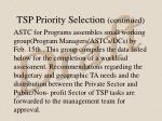tsp priority selection continued1