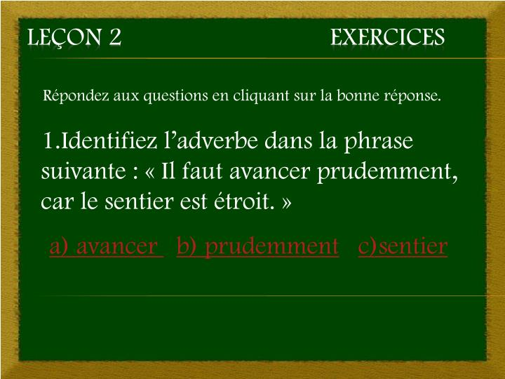 Le on 2 exercices