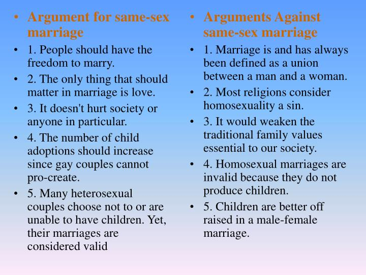 an argument against same sex marriages involving children Marriage as an institution exists for the specific purpose of child rearing a purpose that same sex uniquely involving common arguments against gay marriage.