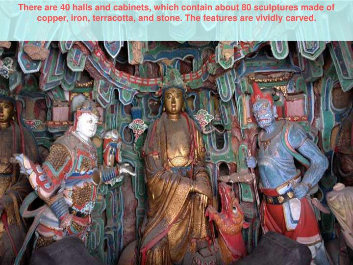There are 40 halls and cabinets, which contain about 80 sculptures made of copper, iron, terracotta, and stone. The features are vividly carved.