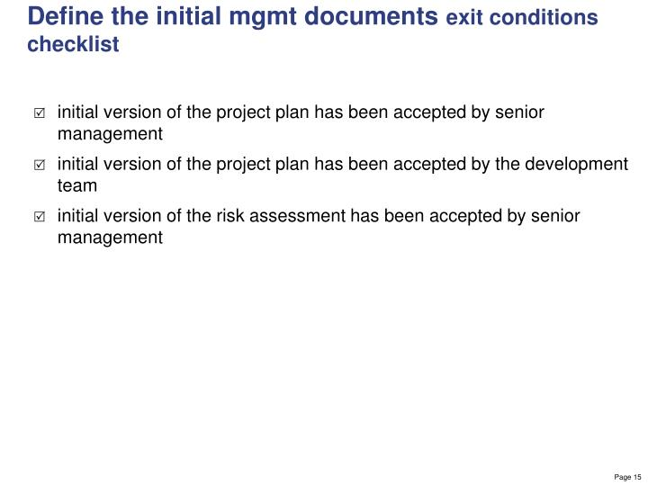 Define the initial mgmt documents