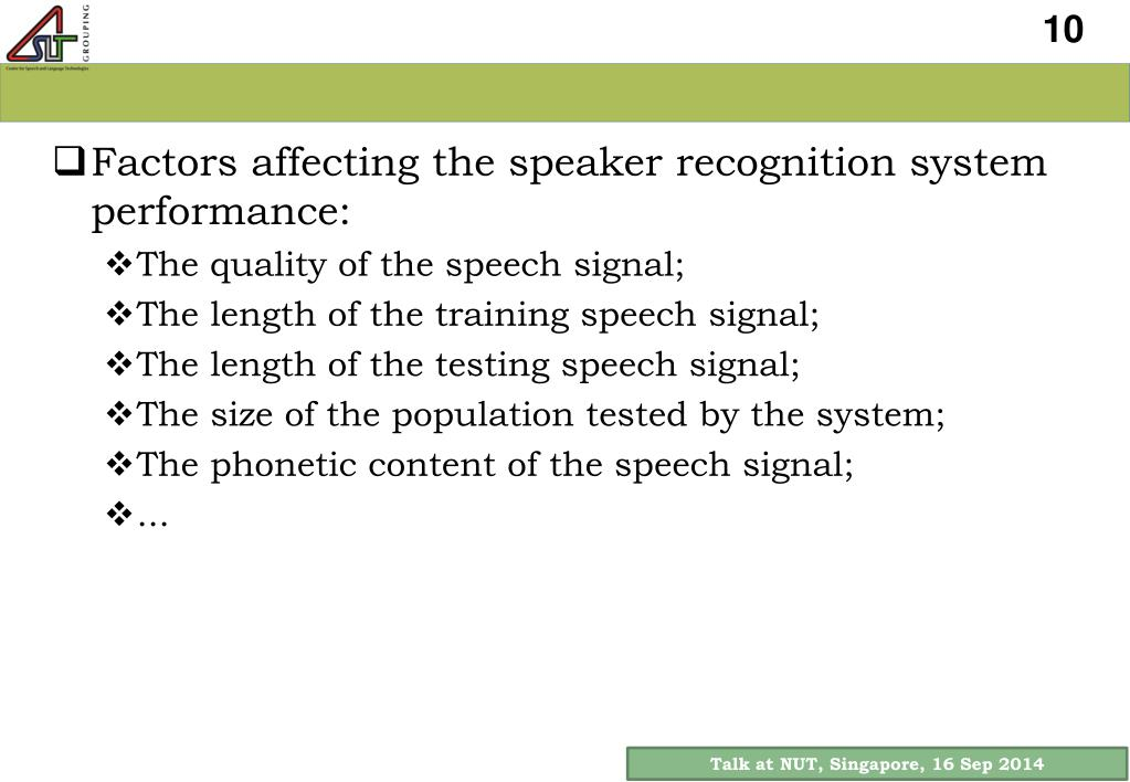 PPT - Time -Varying Robustness of Speaker Recognition Systems