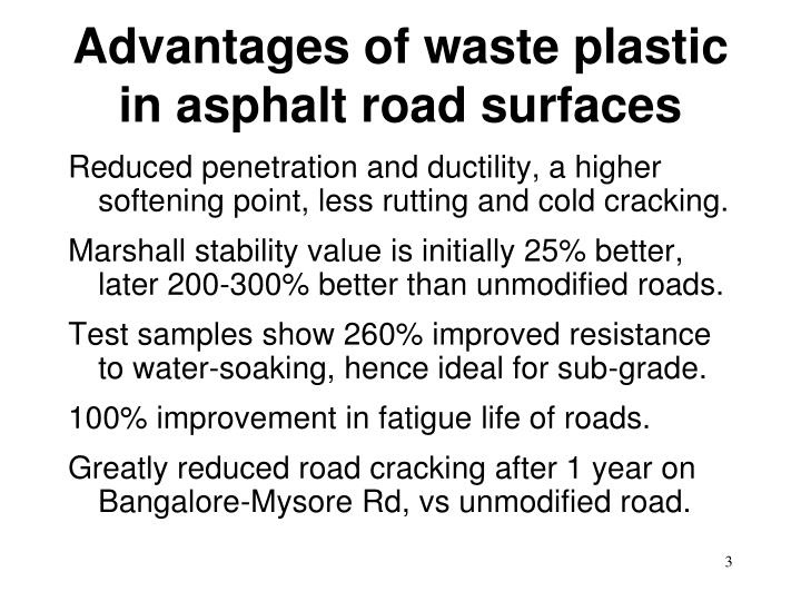 Advantages of waste plastic in asphalt road surfaces