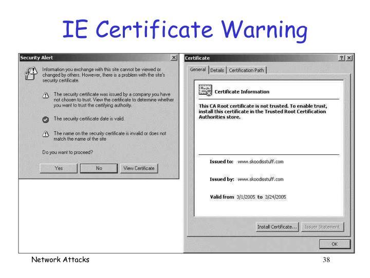 IE Certificate Warning