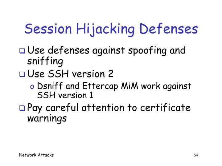 Session Hijacking Defenses