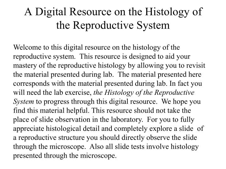 A digital resource on the histology of the reproductive system