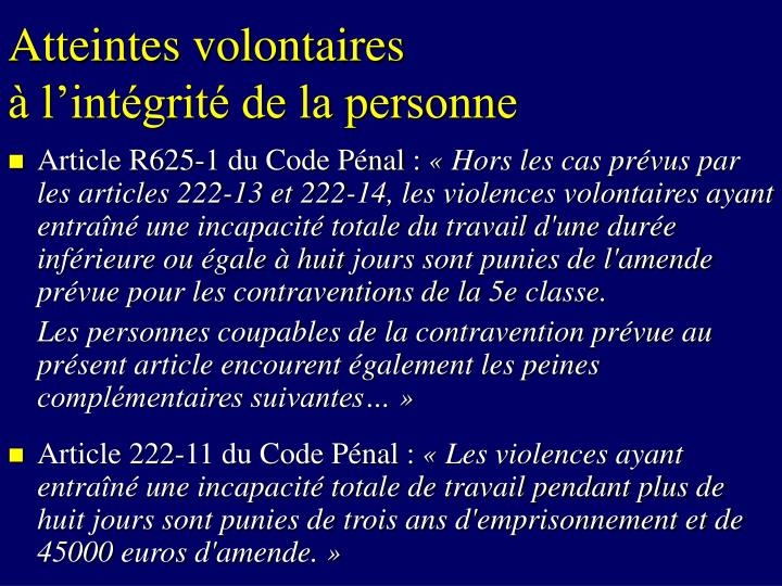 Atteintes volontaires