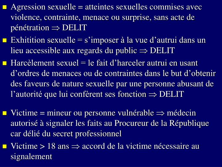 Agression sexuelle = at