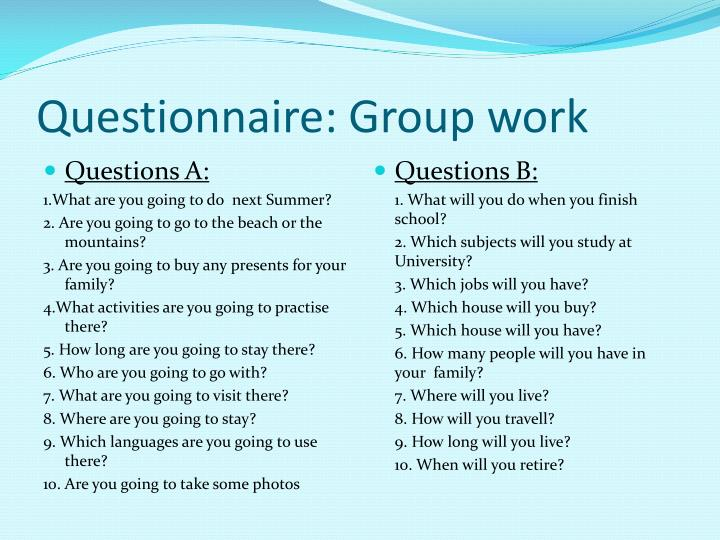 Questionnaire group work