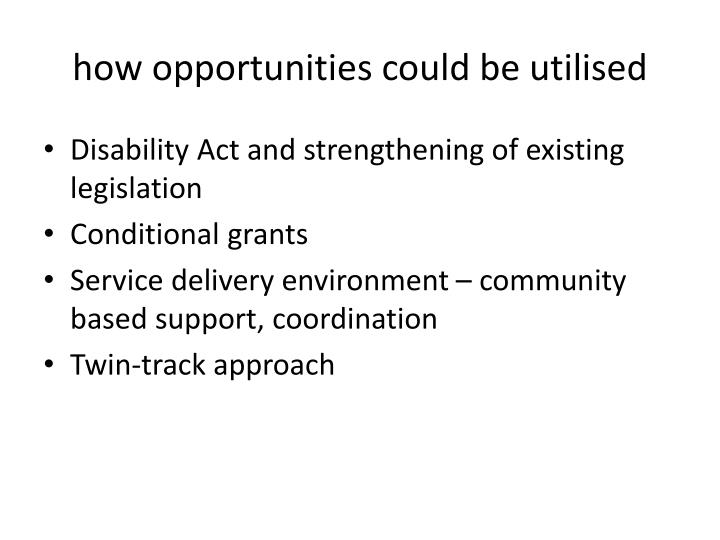how opportunities could be utilised