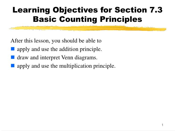 Ppt Learning Objectives For Section 73 Basic Counting Principles
