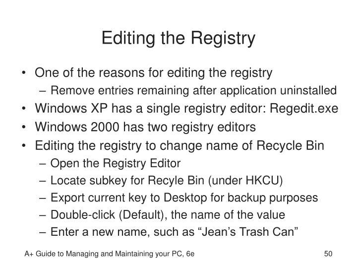 Editing the Registry