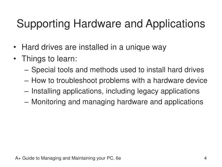 Supporting Hardware and Applications