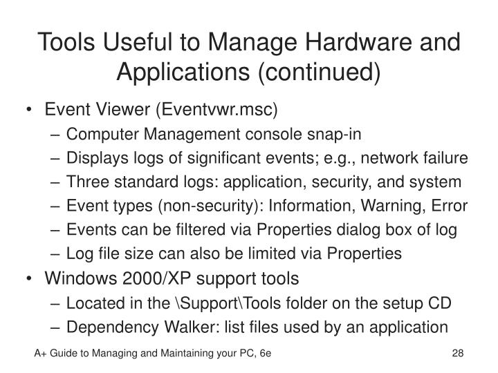 Tools Useful to Manage Hardware and Applications (continued)