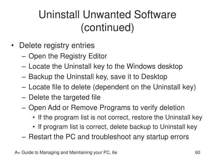 Uninstall Unwanted Software (continued)