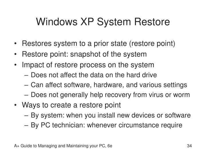 Windows XP System Restore