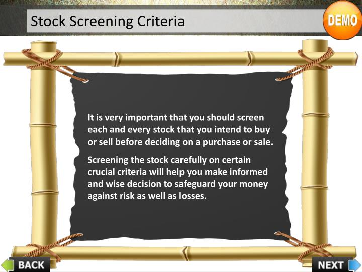 Stock Screening Criteria