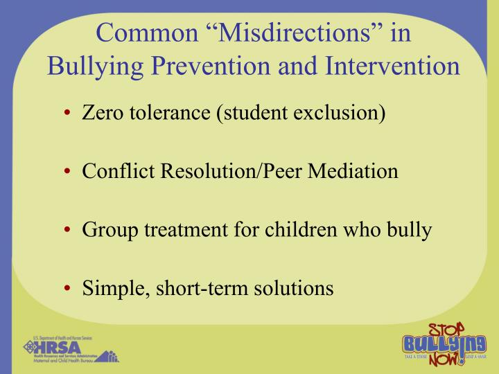 """Common """"Misdirections"""" in Bullying Prevention and Intervention"""