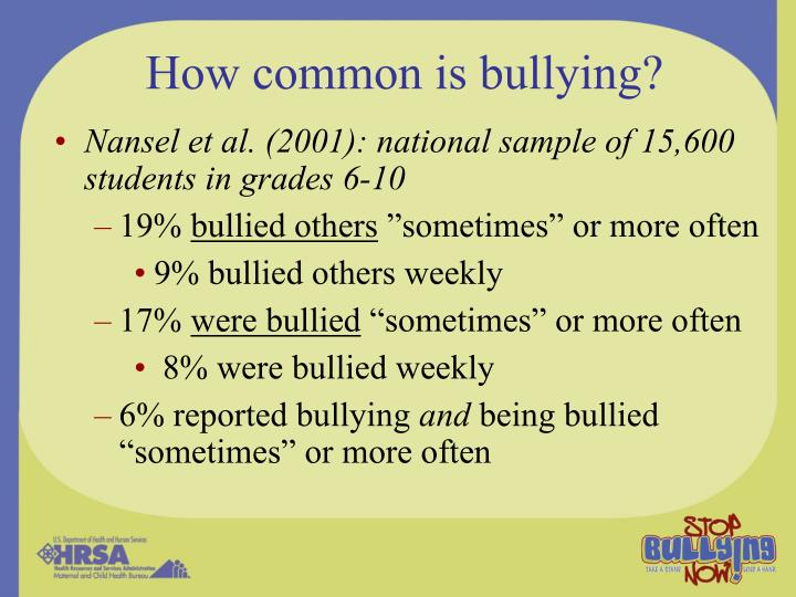 How common is bullying?
