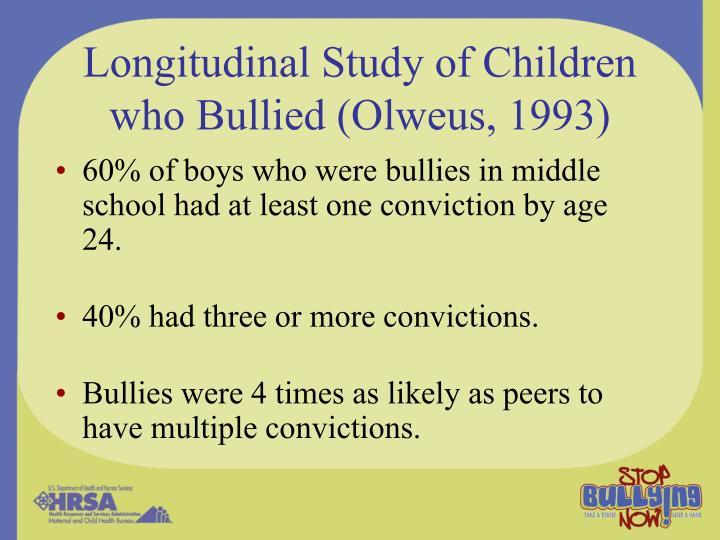 Longitudinal Study of Children who Bullied (Olweus, 1993)