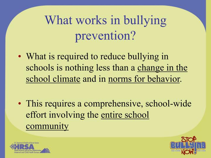 What works in bullying prevention?