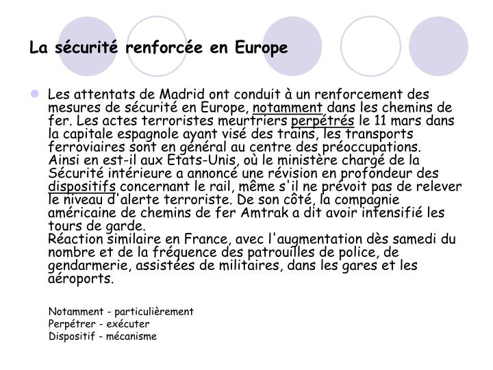 La sécurité renforcée en Europe