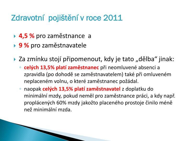 Zdravotní  pojištění v roce 2011