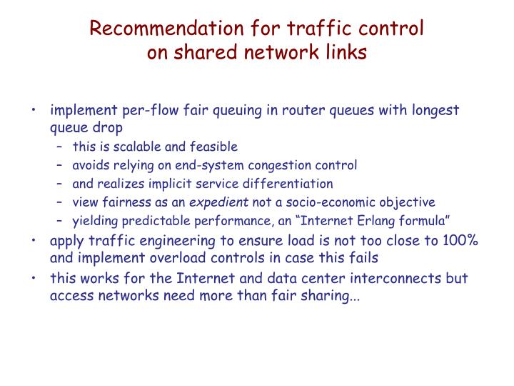 Recommendation for traffic control
