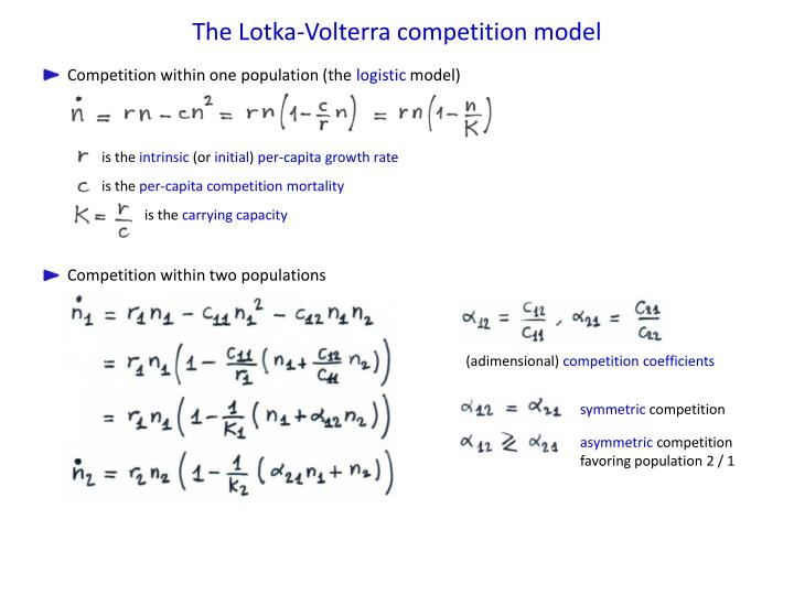 The Lotka-Volterra competition model