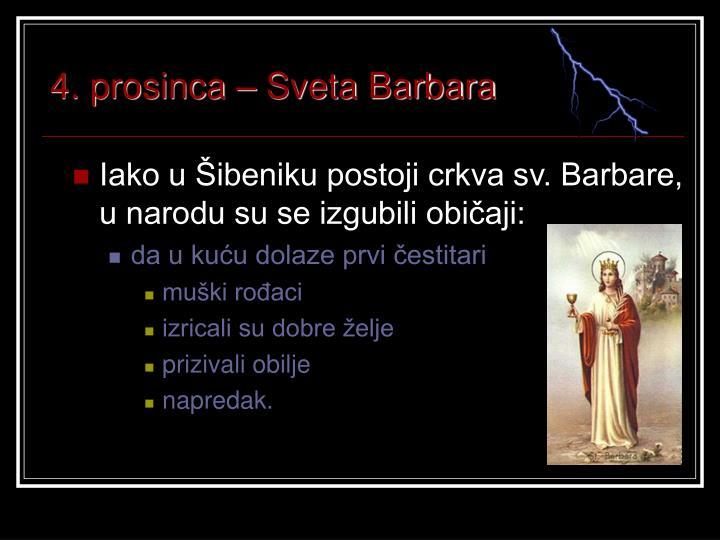4. prosinca – Sveta Barbara