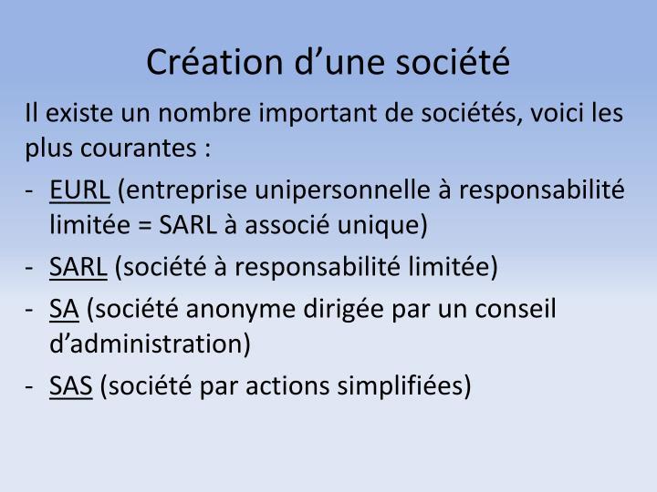 Création d'une société