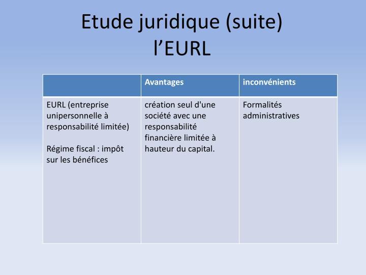 Etude juridique (suite)
